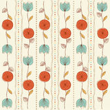 Seamless pattern background with red flowers Royalty Free Stock Image