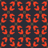 Seamless pattern background with red roosters. Royalty Free Stock Photo