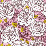 Seamless pattern background of rose  flowers. Stock Photography