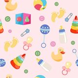 Seamless pattern, background, from a set of beautiful baby icons stock illustration