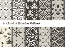 Seamless pattern background. Set of 10 classical motifs. Monochrome sepia colors stock illustration