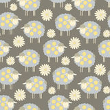 Seamless pattern background with sheeps and flowers. Vector illustration Stock Image