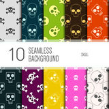 10 seamless pattern background. Skull. Stock Image