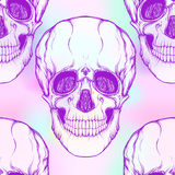 Seamless pattern, background with  skull . Neon vanilla colors. Royalty Free Stock Photo
