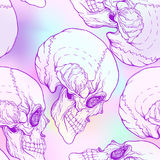 Seamless pattern, background with  skull . Neon vanilla colors. Stock Photos