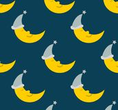 Seamless pattern background of sleeping moon. Relaxed sleeping moon seamless pattern background design. Clean design. Vector file available Stock Photos