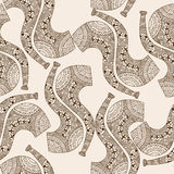 Seamless pattern background smoke pipe. Vector zen tangle with tobacco enjoyment. Beige and brown zentangle. Stock Photo