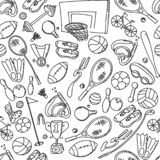 Seamless pattern background Sports Equipment kids hand drawing set illustration isolated on white. Background vector illustration