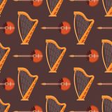 Seamless pattern background stringed musical instruments  Royalty Free Stock Image