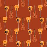 Seamless pattern background stringed musical instruments classical orchestra art sound tool and acoustic symphony Stock Photography