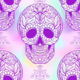 Seamless pattern, background with  sugar skull and floral patter Stock Photos