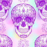 Seamless pattern, background with  sugar skull and floral patter Stock Photography