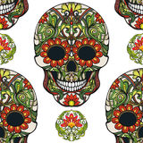 Seamless pattern, background with sugar  skull and floral patter Royalty Free Stock Photography