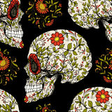 Seamless pattern, background with sugar skull and floral patter. N. Stock line vector illustration.rr vector illustration