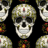 Seamless pattern, background with sugar skull and floral patter. N. Stock line vector illustration.rr royalty free illustration