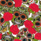 Seamless pattern, background with sugar  skull and red roses. Stock Photo