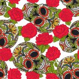 Seamless pattern, background with sugar  skull and red roses. Stock Images