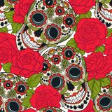 Seamless pattern, background with sugar  skull and red roses. Stock vector illustration.rr Stock Photos