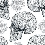Seamless pattern, background with sugar  skull   Royalty Free Stock Image