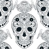 Seamless pattern, background with sugar  skull   Royalty Free Stock Images