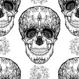 Seamless pattern, background with sugar  skull   Stock Photos