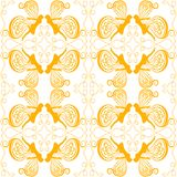 Swirling Fairies seamless background. Seamless pattern background with swirling women butterfly fairies in yellow tones Royalty Free Stock Image