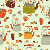 Seamless pattern background with tea related symbols Royalty Free Stock Images