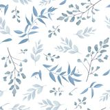 Seamless pattern, background, texture print with light watercolo. R hand drawn blue color dusty leaves, fern greenery forest herbs, plants. Tender, elegant Stock Images