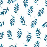 Seamless blue leaves pattern, background, texture print with light watercolor leaves. stock illustration