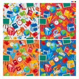 Seamless pattern background texture of school items vector illustration