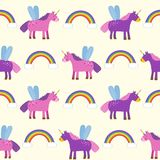 Seamless pattern, background with unicorns and rainbows, a child`s drawing. You can use for paper, textiles, packaging Stock Image