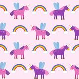 Seamless pattern background with unicorns and rainbows on a pink background, the picture of the child. You can use for paper, textile, packaging Stock Images