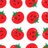 Seamless Pattern Cute Red Tomato Background Vector Illustration vector illustration