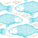 Seamless pattern background vector with seafood elements. Stock Image