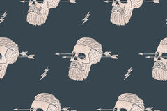 Seamless pattern background of vintage skull hipster with arrow. Graphic design for wrapping paper and fabric texture of shirt. Vector Illustration Royalty Free Stock Photos