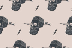 Seamless pattern background of vintage skull hipster with arrow. Graphic design for wrapping paper and fabric texture of shirt. Vector Illustration Stock Images