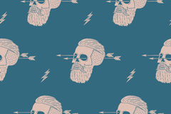 Seamless pattern background of vintage skull hipster with arrow. Graphic design for wrapping paper and fabric texture of shirt. Vector Illustration Stock Photo