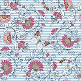 Seamless pattern, background with vintage style flowers and anim Royalty Free Stock Photography
