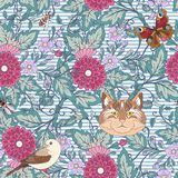Seamless pattern, background with vintage style flowers and anim Stock Photo