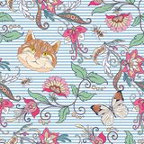 Seamless pattern, background with vintage style flowers and anim Royalty Free Stock Images