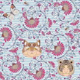 Seamless pattern, background with vintage style flowers and anim Stock Images