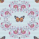 Seamless pattern, background with vintage style flowers and anim Stock Photography