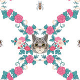 Seamless pattern, background with vintage style flowers and cats Royalty Free Stock Images