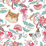 Seamless pattern, background with vintage style flowers and cats Stock Image