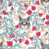 Seamless pattern, background with vintage style flowers and cats Stock Photo