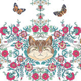 Seamless pattern, background with vintage style flowers and cats Royalty Free Stock Photos
