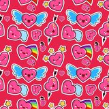 Seamless pattern, background, wallpaper, texture with different emotions heart. Collection of emoticons for site, info. Graphics, animation, websites, mails Royalty Free Illustration