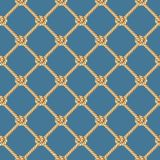 Seamless pattern, background, yellow rope woven in the form fishing ne. T, isolated on blue background stock illustration