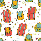Seamless pattern with backpacks on white background Royalty Free Stock Photography