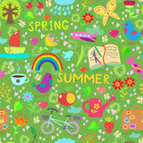 Spring and summer seamless pattern royalty free illustration